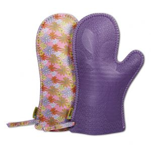 Neoprene Oven Mitts in Purple with Daisy Design [Pair]
