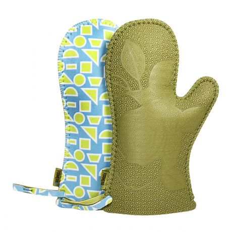 Neoprene Oven Mitts in Green with Geometric Design [Pair]