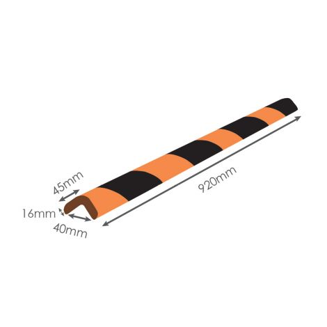 "Heavy-Duty Commercial Corner Guard 36"" x 1.7"" x 1.6"" [920mm x 45mm x 40mm]"